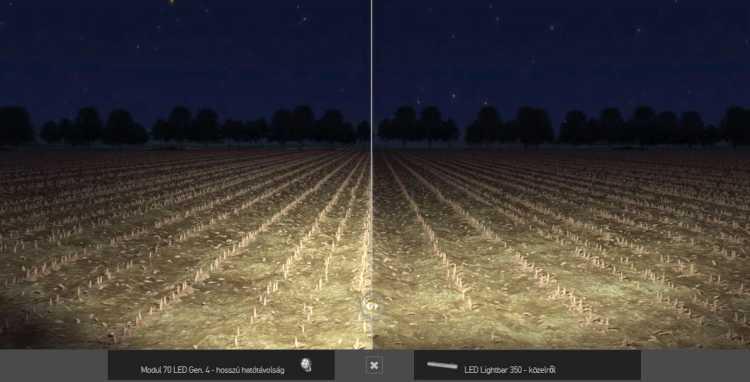 """2. kép. Balra """"Modul 70 LED Gen IV"""", jobbra """"LED Lightbar 350"""" fényszórók világításának összehasonlítása ELIVER program segítségével (forrás: www.hella.com/eliver)"""