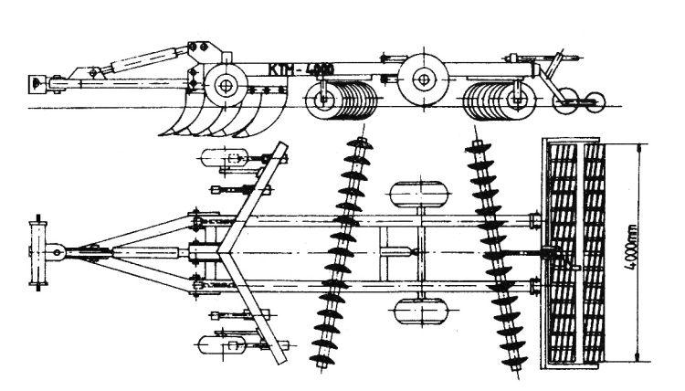 2. kép. A KTM-4000 vontatott tárcsás lazító szerkezeti felépítése