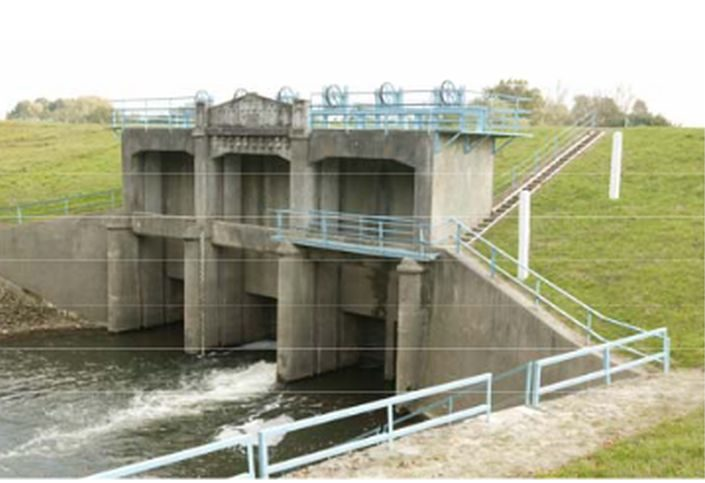 Belvízelvezető csatorna kiépített műtárgyai