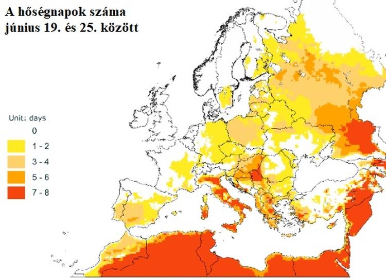 hőségnapok száma